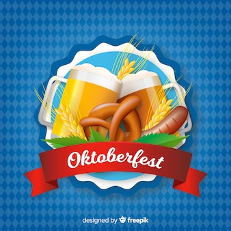 Realistische art des oktoberfest-bierhintergrundes