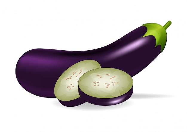 Realistische aubergine und scheibe