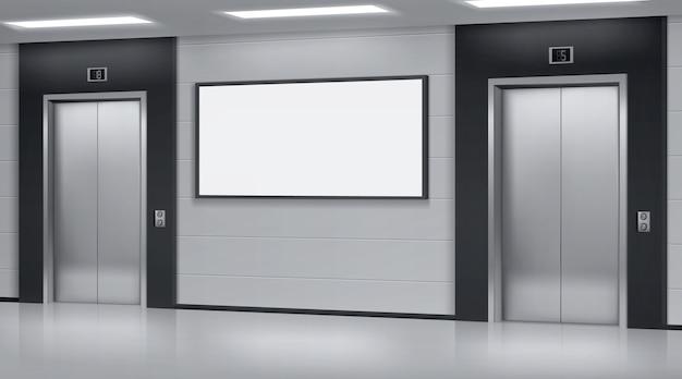 Realistische aufzüge mit geschlossenen türen und werbeplakat an der wand. büro oder moderner hotelflur, leeres innenraum der lobby mit aufzügen und leerer anzeige, 3d vektorillustration