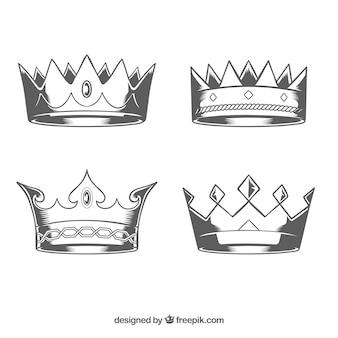 Realistische auswahl von handgezeichneten kronen