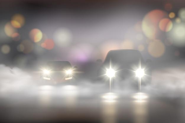 Realistische autolichter in der nebelzusammensetzung mit zwei autos auf der straße und bokeh-texturillustration