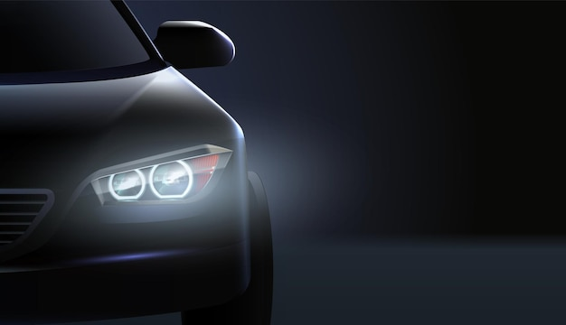 Realistische autoscheinwerfer ad zusammensetzung high class status auto im dunkeln