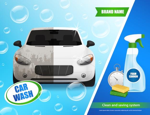 Realistische autowaschwerbung