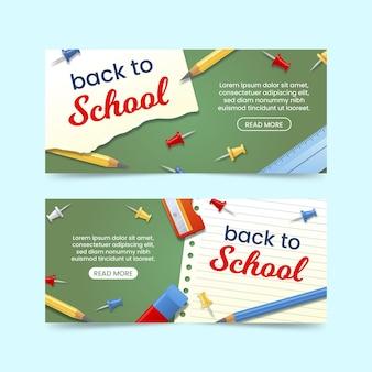 Realistische back-to-school-banner gesetzt