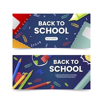 Realistische back to school banner sammlung