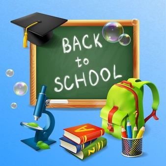 Realistische back-to-school-illustration