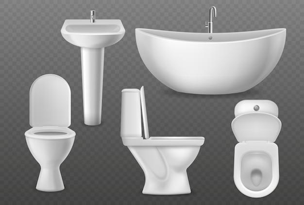 Realistische badezimmerobjekte.