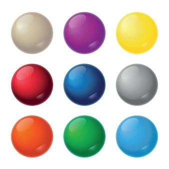 Realistische bälle - neun farbtöne