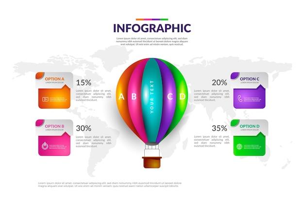 Realistische ballon-infografik