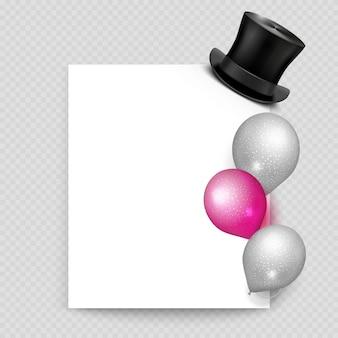 Realistische ballone und weinlese des grußkartenvektors