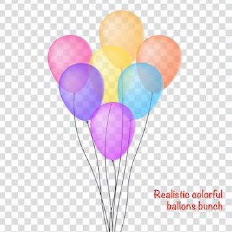 Realistische ballons haufen im transparenten hintergrund