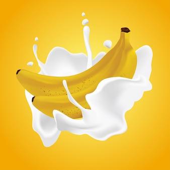 Realistische bananencrememilchillustration