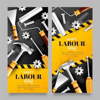 Realistische banner für den arbeitstag