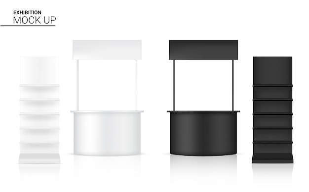 Realistische banner regal kiosk anzeige 3d pop stand zum verkauf marketing promotion hintergrund illustration. event exhibition concept design.