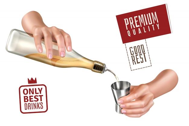 Realistische barkeeperhände, die getränk für cocktail auf weiß gießen
