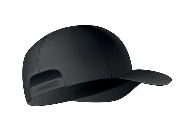 Realistische baseballkappe auf weißer seitenansicht.
