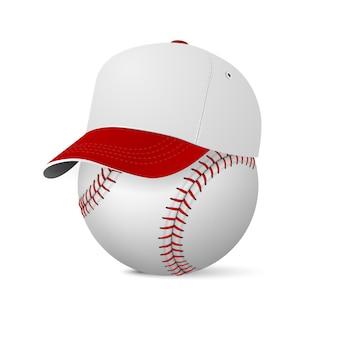 Realistische baseballmütze auf baseball. illustration.