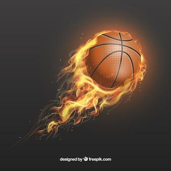 Realistische basketball auf feuer