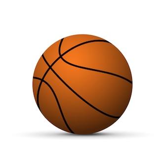 Realistische basketballkugel mit dem schatten getrennt