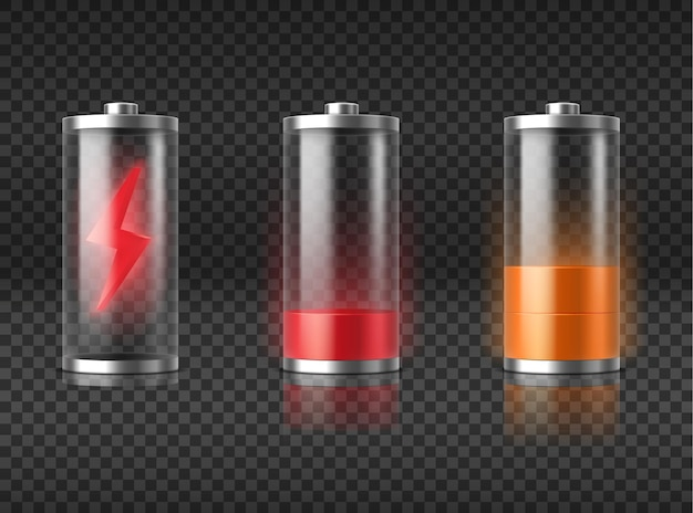 Realistische batterieladung rot leer bis gelb halbe energie. leuchtender smartphone-akku