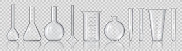 Realistische becher und flaschen. 3d leere labormessgeräte, glasröhren medizin, flaschen und chemiebehälter vektorset. illustration laborglas für test, gerätelaborflasche