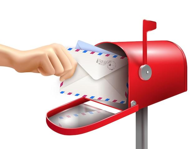 Realistische beitragsmailboxbuchstabe-handzusammensetzung mit umschlägen der menschlichen hand und klassischem briefkasten