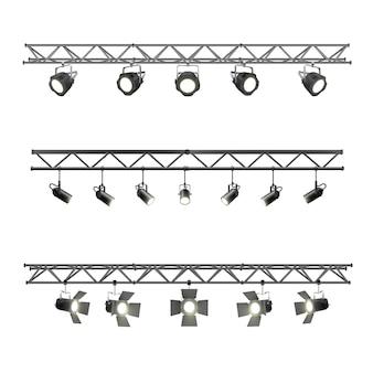 Realistische beleuchtung metallträger mit strahlern ausrüstung für studio- und ausstellungspavillon-bühnenbeleuchtung. strahler-set aus metall-traversen