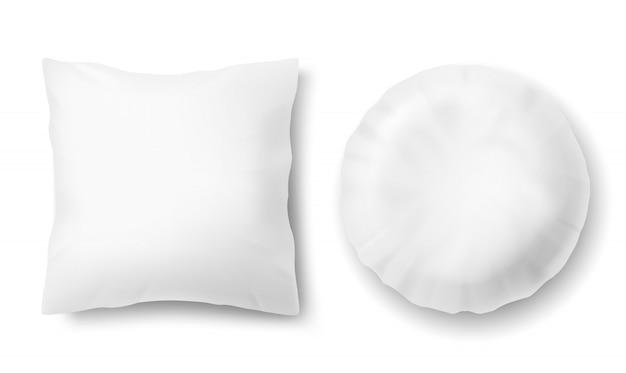 Realistische bequeme kissen 3d - quadrat, rund, verspottet vom weißen flaumigen kissen