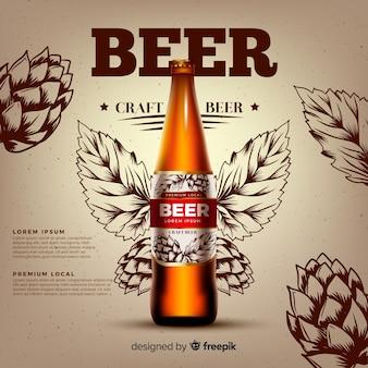 Realistische bier anzeigenvorlage