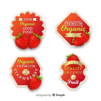Realistische bio-erdbeer-label-set