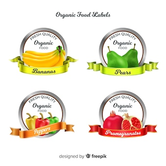 Realistische bio-obst-label-set