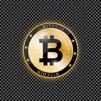 Realistische bitcoin-münze auf einem transparenten hintergrund.