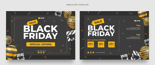 Realistische black friday-broschürenvorlage mit schwarzen und goldenen luftballons