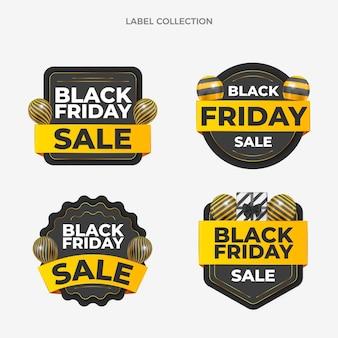 Realistische black friday-etikettenkollektion mit schwarzen und goldenen luftballons