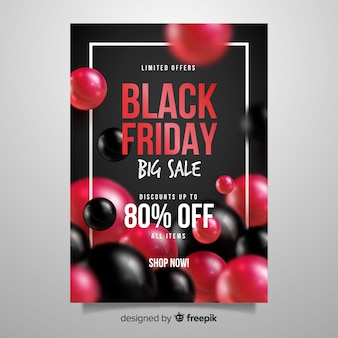 Realistische black friday flyer vorlage