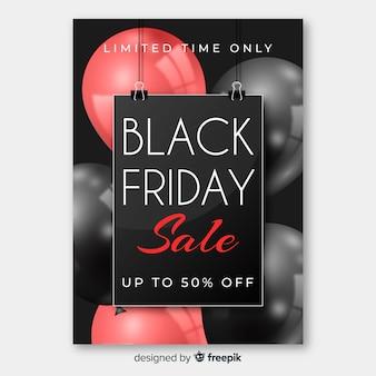 Realistische black friday flyer vorlage