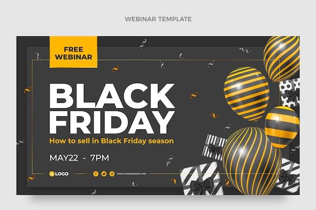 Realistische black friday-webinar-vorlage mit schwarzen und goldenen ballons