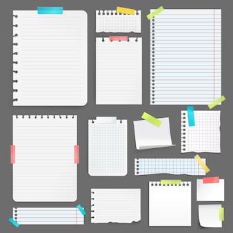 Realistische blätter des leeren papiers auf der unterschiedlichen größe und der form, die mit buntem band auf grauem hintergrund fest ist, lokalisierten vektorillustration