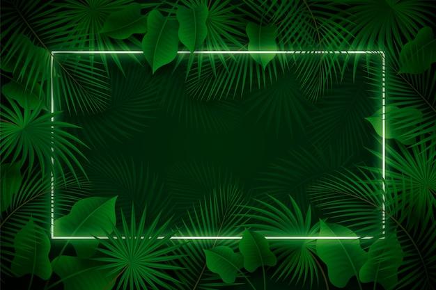 Realistische blätter mit grünem neonrahmen