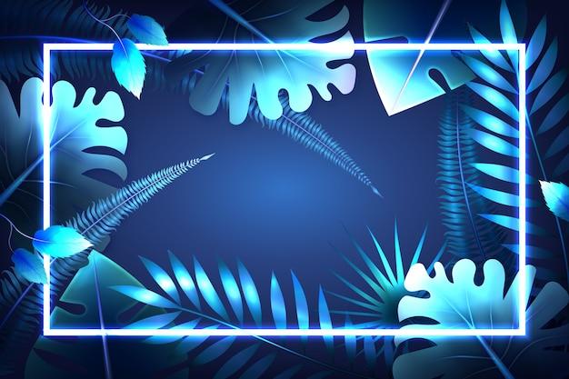 Realistische blätter mit neonrahmentapetenkonzept