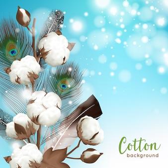 Realistische blau-weiße baumwolle mit pfauenfeder und