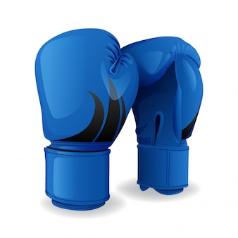 Realistische blaue boxhandschuhikone lokalisiert, sportausrüstung