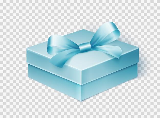 Realistische blaue geschenkbox mit dem band lokalisiert