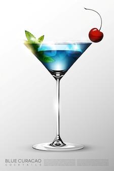 Realistische blaue glaslagunen-cocktailglasschablone