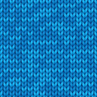 Realistische blaue nahtlose strickstruktur. nahtloses muster für hintergründe, tapete.
