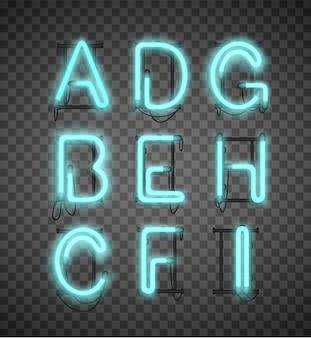 Realistische blaue neon-alphabet-set straßenbars.