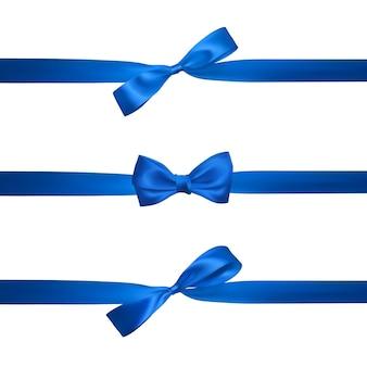 Realistische blaue schleife mit horizontalen blauen bändern, die auf weiß lokalisiert werden. element für dekorationsgeschenke, grüße, feiertage.