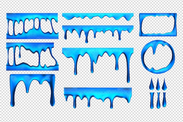 Realistische blaue schleimtropfen-set-sammlung