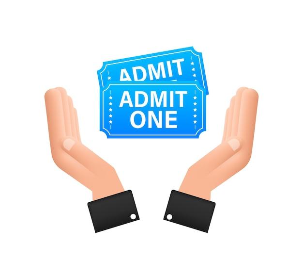 Realistische blaue showkarte, die über den händen hängt. alte premium-kino-eintrittskarten.