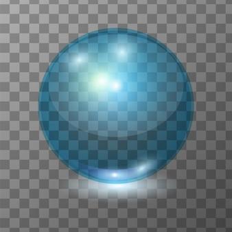 Realistische blaue transparente glaskugel, glanzkugel oder suppenblase